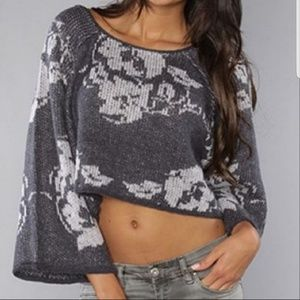 Free People floral knit crop top size xsmall